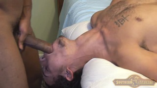 black stud throat fucks a chin scruff dude