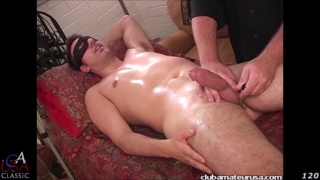 masked guy Hunter gets handjob on massage table