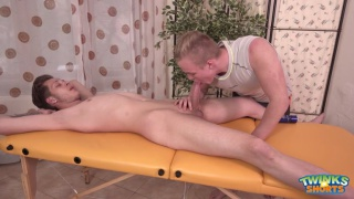 blond masseur can't resist will simon's fat cock