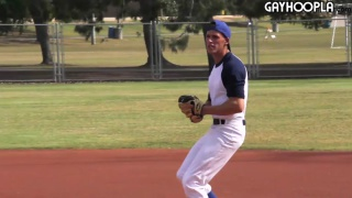 baseball player gets his bat hard