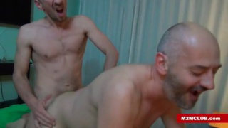 bald bottom gets fucked by top with curved dick