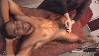 black man gets handjob on massage table