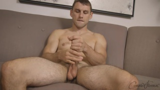 galen strokes his dick with both hands