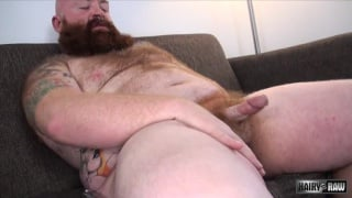 Hairy bearded and tattooed chub bear jacks off