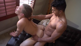 devon lubes up corbin's hole and climbs on top