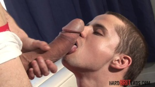 Petit twink tries sucking 10-inch monster cock