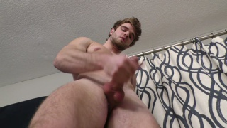 bearded guy Lawrence jerks his cock