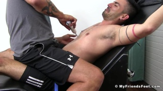 Cesar Rossi strapped into the tickling chair & gets tormented by Jace Chambers