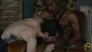 On The Edge - two guys play with rope and blindfolds