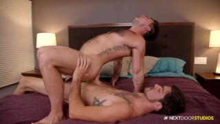 Dominant man fucks his bottom with his huge dick -- and it's big!
