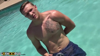 blond guy Ryan Lacey has a huge cock