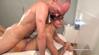 young lad massages a daddy and then they fuck