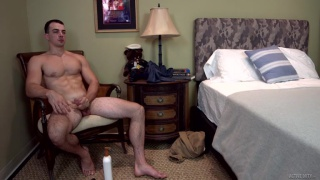 handsome guy strokes every inch of his hard thick dick