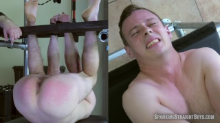 blond straight boy suspended upside down and spanked