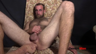 hairy & hung straight guy plays with a dildo