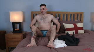 English Lad Miles Carrow jacks off in first video