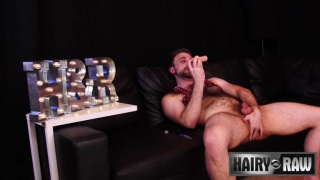 hairy hunk Harper Davis jacking off with a dildo