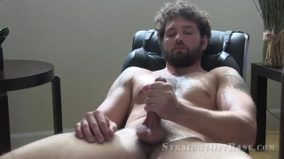 hairy and tattooed former Marine jerks his dick