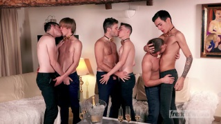 five french guys share a cute twink's ass
