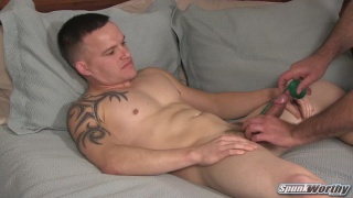 former solider Marty gets his dick measured & a handjob