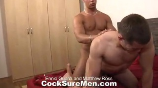 Matthew slides his ass on Ennio's thick uncut dick
