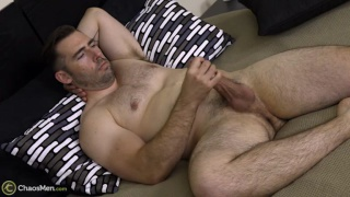 bisexual muscle hunk with gorgeous body jerks off