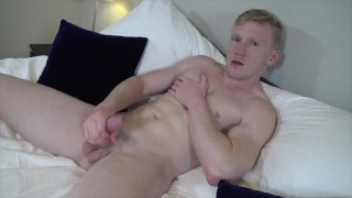 Spencer Daley strokes his curved cock