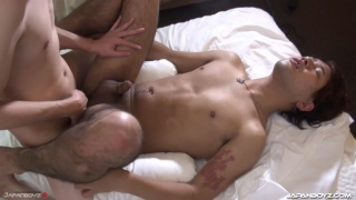 japanese guy with morning wood wakes up his buddy for sex