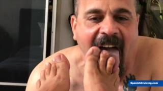 sexy spanish man services an older man's cock