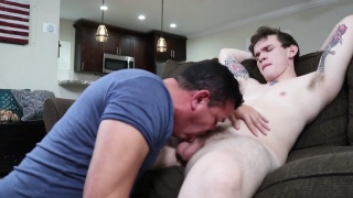 sexy young man with blue eyes gets blown by a guy