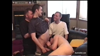 Cock and Ass Licking Orgy with four guys and auntie bob