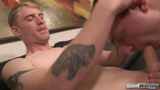 blond straight guy Thomas gets his dick serviced