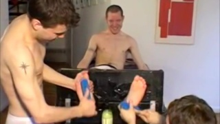 Three Boys in tickling session at FOOT FRIENDS