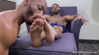 man loves the smell of hairy hunk's sweaty feet
