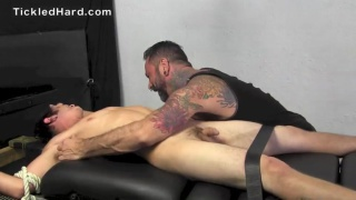 guy Squeals as his naked body is tickled