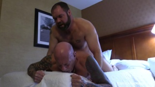 hairy daddy Topher Phoenix busts Scott Gregory's porn cherry