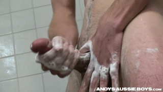 shower jack-off with horny aussie soaping his uncut dick