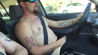 guy can't hardly keep his eyes on the road with this fat dick beside him