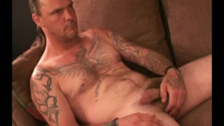 handsome & masculine guy jacking off in first video
