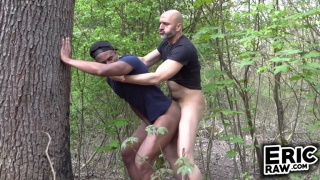 bald man Fucks a Jogger in the Woods