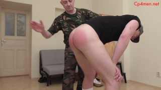 commanding officer spanks a cadet for messy shoes