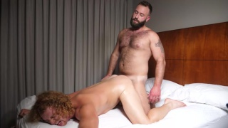 One hairy man, one smooth guy. Lots of fucking.