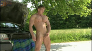 Big Muscle Hunk jacks off