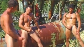 Three Muscle Hunks Masturbation