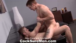 uncut dick in his mouth