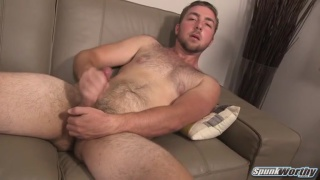 hairy dude Foster strokes off in first video