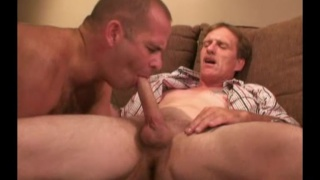 redneck gobbles this blond man's dick while taking a dildo