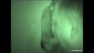 mature man sucks dick at Glory Hole with night-vision camera