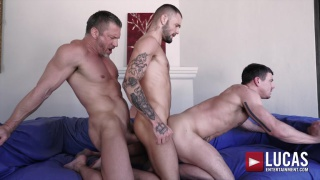 swedish muscle daddy gets fucked by two younger men