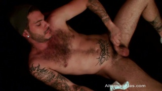 Hairy Tatted Cub Sniffs His Own Underwear